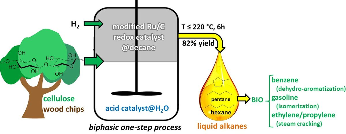 Direct Catalytic Conversion of Cellulose to Liquid Straight-Chain Alkanes